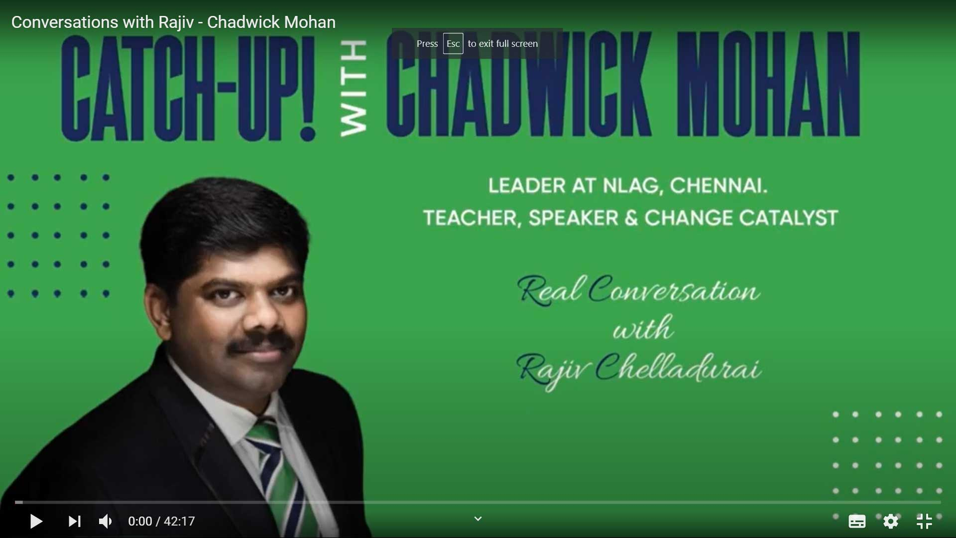 Conversations with Rajiv: Chadwick Mohan - Ergos Mind